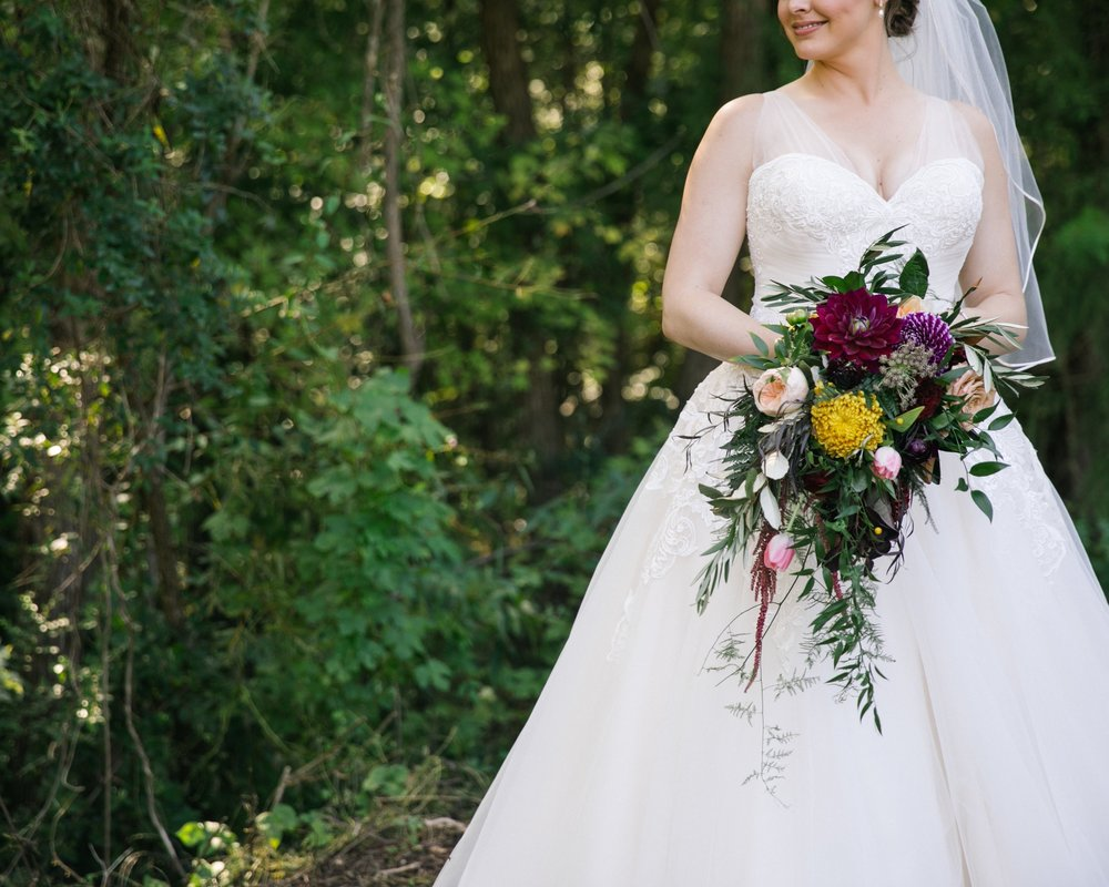 Bridal bouquet, jewel tones, cascading, organic