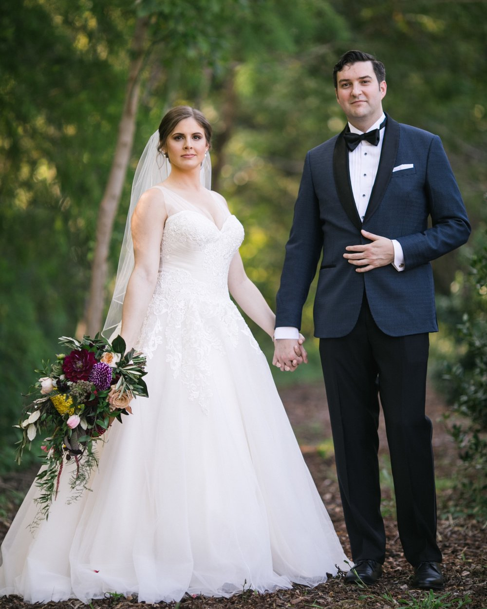 Bridal bouquet, cascading, jewel tones, organic
