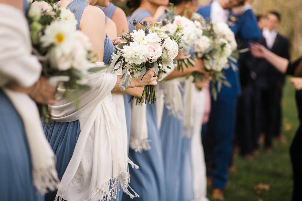 bridesmaid bouquets, dahlia, garden rose, slate, blush