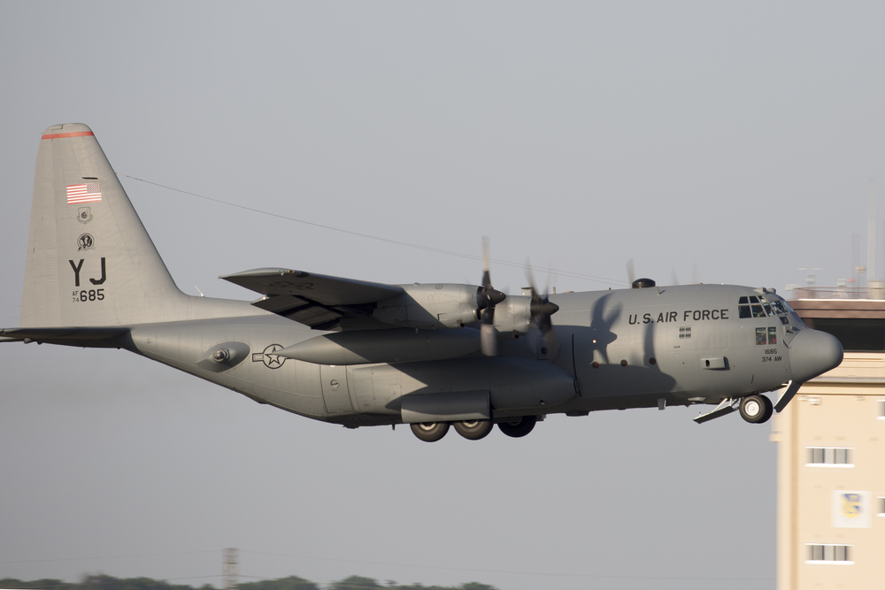A C-130 Hercules from the 36th Airlift Squadron takes off at Yokota Air Base, Japan, May 5, 2015. Airmen left Yokota to support the U.S. Agency of International Development and the Government of Nepal. (U.S. Air Force photo by Osakabe Yasuo/Released)