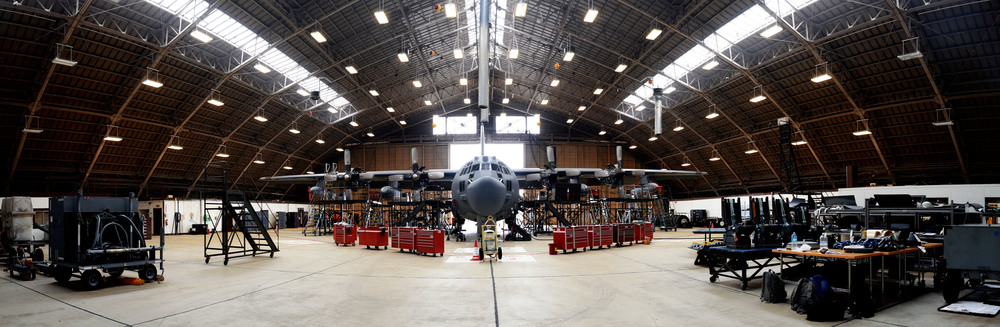 A C-130 Hercules sits in a hangar during an isochronal inspection June 16, 2015, at Yokota Air Base, Japan. Airmen of the 374th Maintenance Squadron perform the inspection yearly to ensure optimal functionality and safety of the aircraft. (U.S. Air Force photo by Airman 1st Class Delano Scott/Released)