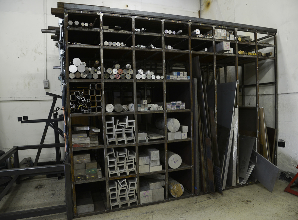 A variety of metal pieces are stored to be used for various products at Yokota Air Base, Japan, June 23, 2015. The metal technology shop works on 20 to 80 pieces of equipment each week. (U.S. Air Force photo by Senior Airman David Owsianka/Released)