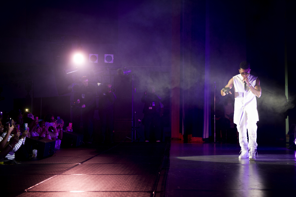 Bryshere Y. Gray, known for his role as Hakeem Lyon on the television series Empire, performs at Yokota Air Base, Japan, Dec. 15, 2015. As part of the United Service Organizations Empire tour, cast members participated in meet and greets, spoke with Yokota High School youth and hosted and performed a family-friendly White Party. (U.S. Air Force photo by Airman 1st Class Delano Scott/Released)