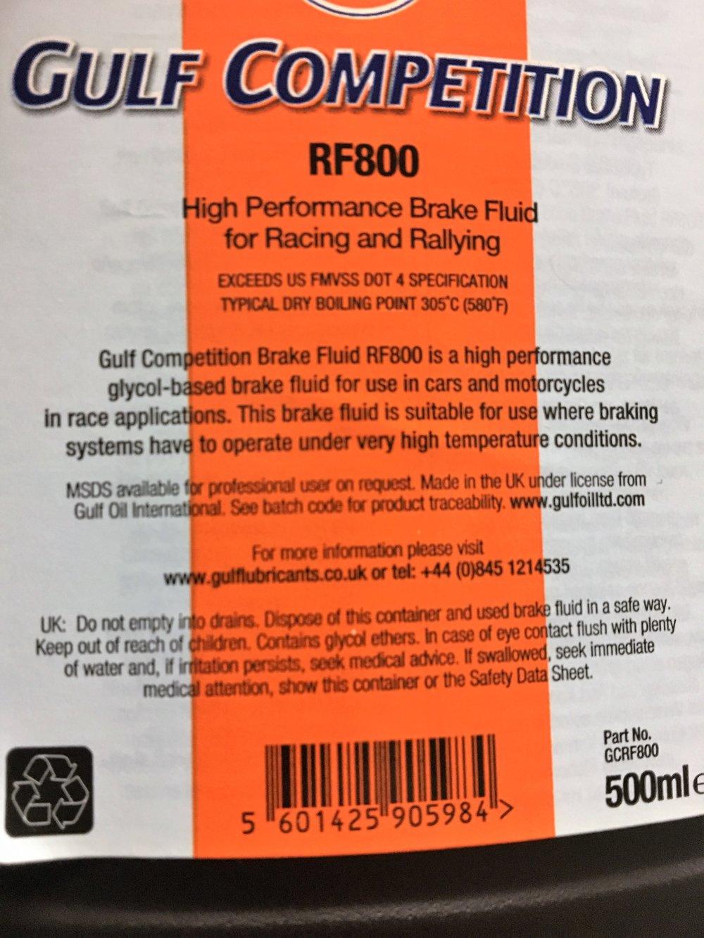 Gulf RF800 Brake Fluid