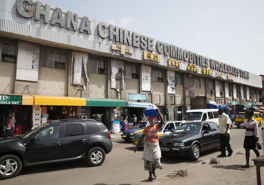 The Ghana Chinese Commodities Wholesale Town, once inhabited by many Chinese retailers, now houses mostly Ghanaians selling bulk goods like cloth and clothing.