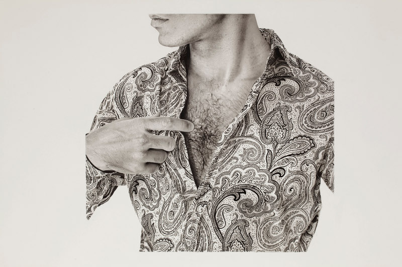 Michael Zavros,  Chest/Etro , 2014, charcoal on paper, 860 x 1220 mm