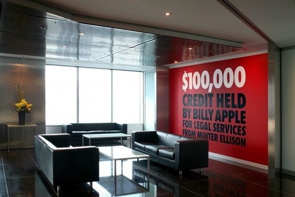 Billy Apple®: $23,610 Top Up, installation view, Minter Ellison Rudd Watts, Auckland
