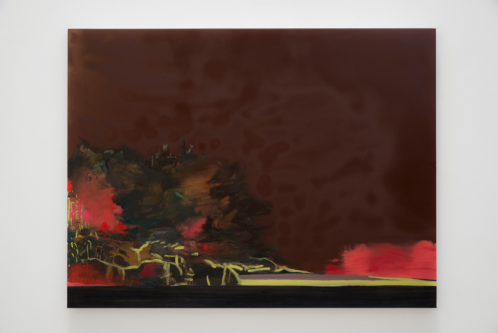 Whitney Bedford,  Landscape (the tease) , 2013, ink and oil on panel 28 x 37 in. Photo: Evan Bedford