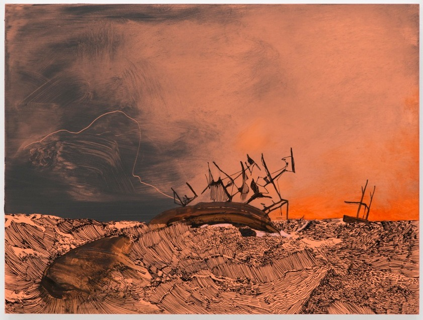 Whitney Bedford,  Orpheus toward Manukau , 2013, ink and oil on panel, 8 x 24 in. Photo: Evan Bedford