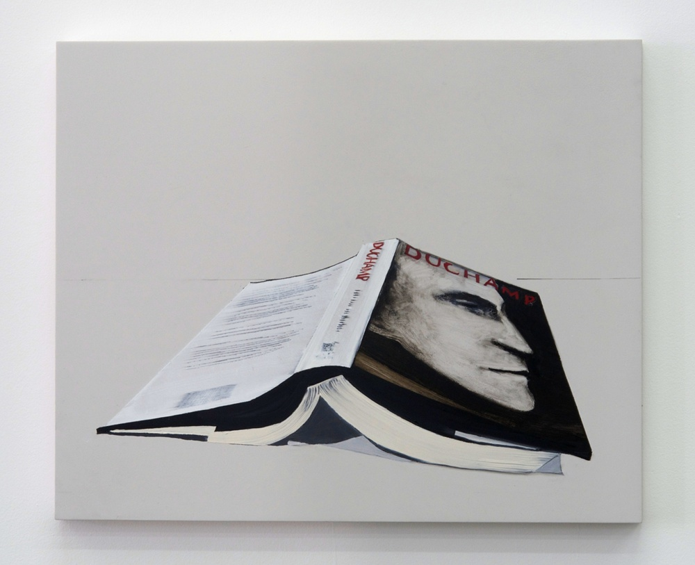 Whitney Bedford,  Book (Duchamp) , 2013, ink and oil on panel 18 x 22 in. Photo: Evan Bedford
