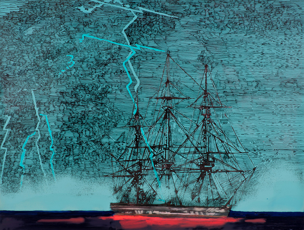 Untitled Ship (Blue Lightening) 2011
