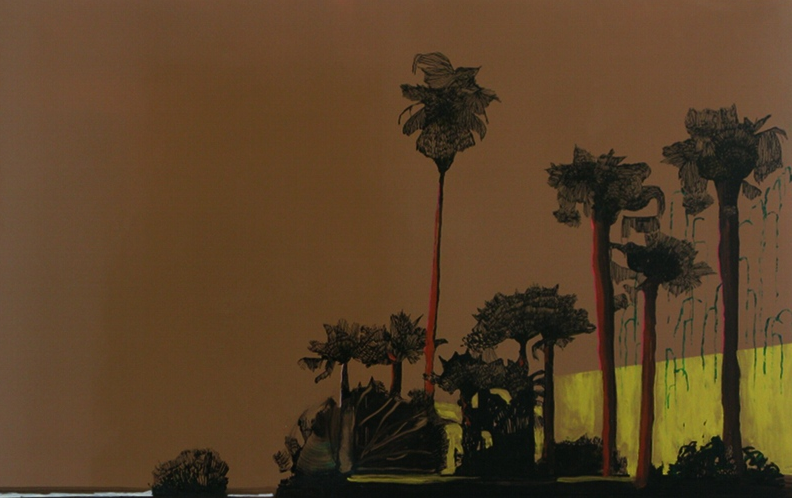 Whitney Bedford,  La La Land (Golden),  2010, ink and oil on board 100 x 140 cm. Photo: Evan Bedford