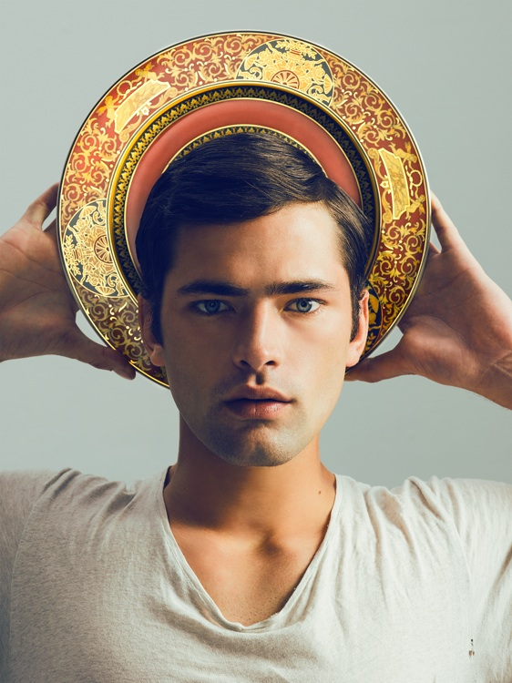 Self portrait as saint with Sean O'Pry / Versace  2015