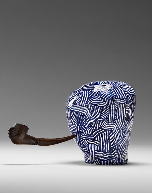 Laith McGregor,  Woodsman , 2013, glazed ceramic + wood pipe 260 x 145 x 135 mm
