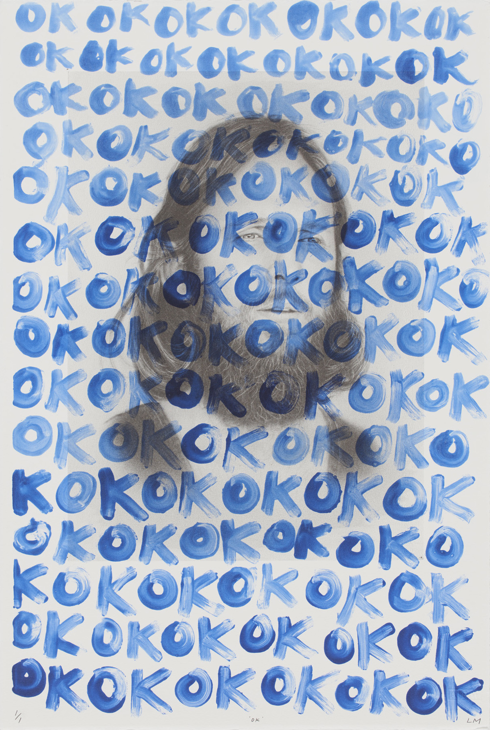 Laith McGregor,  OK , 2014, unique state lithograph, one photo-lithographic plate with monoprint by the artist, image size: 560 x 380 mm, paper size: 560 x 380 mm