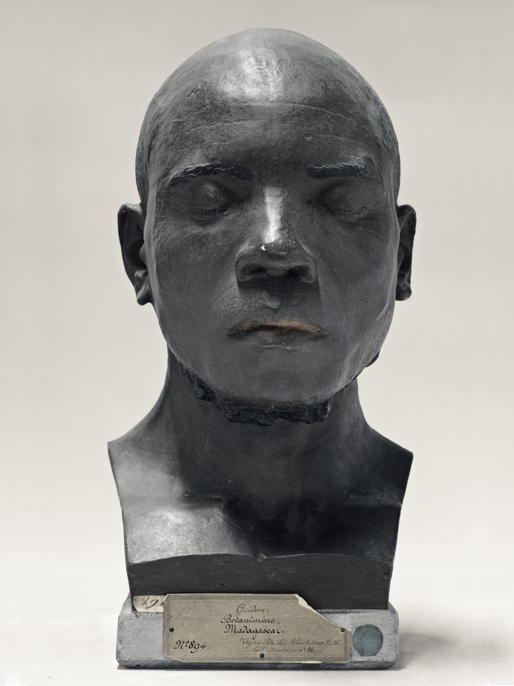 Portrait of a life cast of Guidon (painted), Madagasgar