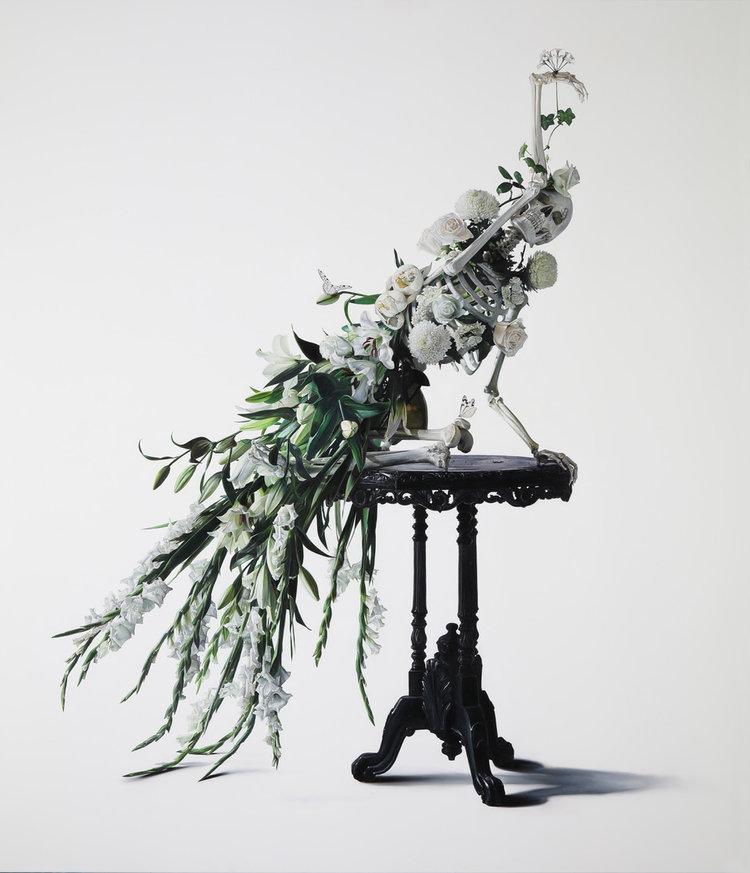 Michael Zavros  White Peacock , 2017 oil on canvas, 220 x 200 cm