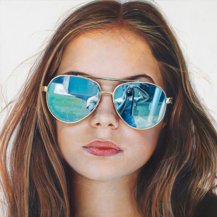 Michael Zavros  Phoebe is 11/Linda Farrow , 2017 oil on board, 22.2 x 22.2 cm