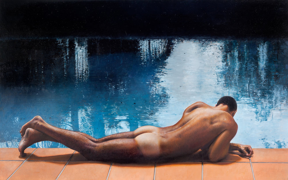 Michael Zavros,  Sunbather , 2017, oil on aluminium, 400 x 200 mm