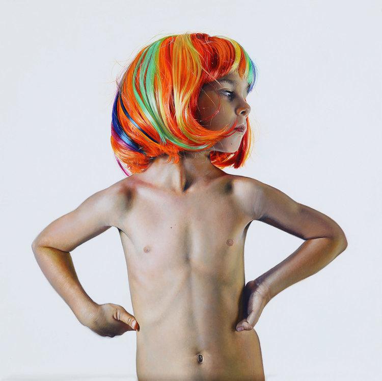 Michael Zavros,Leo is Six, 2017,oil on board,300 x 300 mm