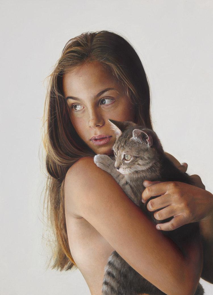 Michael Zavros,The Kitten, 2016,oil on aluminum, 400 x 275 mm