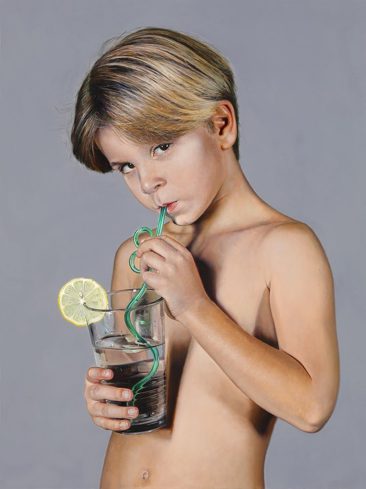 Michael Zavros,  Boy with Lemon , 2018, oil on board, 41 x30.5 cm