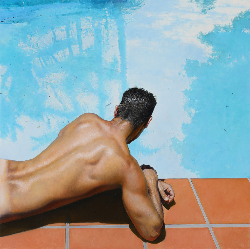 Michael Zavros, Narcissus, 2018, oil on board, 3035 x 305 mm