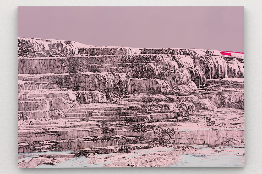Whitney Bedford,  Pink and White Terraces . 2018, Ink and oil on linen on panel, 30 x 42 in. Photo: Evan Bedford