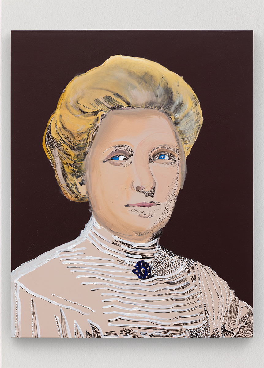 Whitney Bedford,  Kate Sheppard/ Fem votive , 2018, ink and oil on linen on panel, 19.5 x 15.5 in. Photo: Evan Bedford