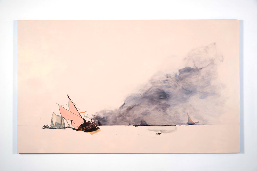 Whitney Bedford,  Smoke and Fire , 2012, oil and ink on board 6 x 10ft. Photo credit: Evan Bedford