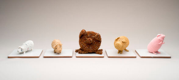 Ani O'Neill,  5 Little Piggies , 2005, mixed media, collection of Christchurch Art Gallery Te Puna O Waiwhetu