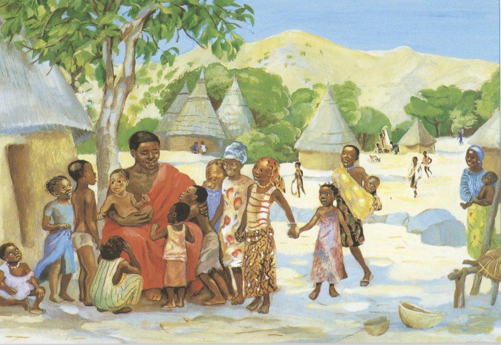 """Jesus welcomes the children,"" by  Jesus Mafa ."