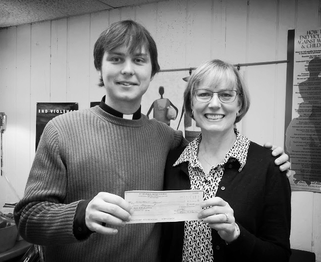 Rev. Ryan Slifka, Pastor of St. George's with Heather Ney, Director of the Comox Valley Transition Society