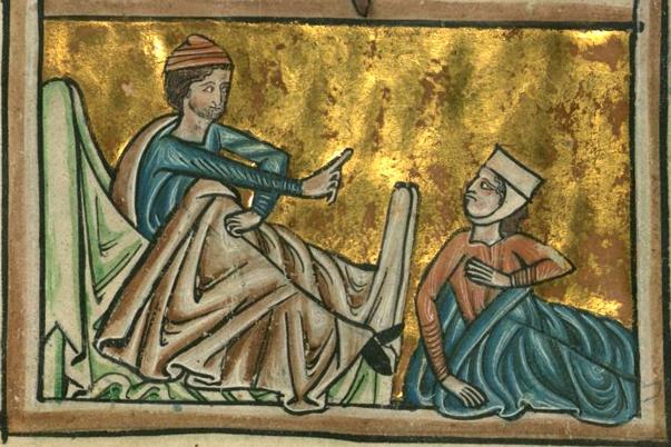 """William, de Brailes, """"Ruth Visits Boaz,"""" 13th century manuscript"""