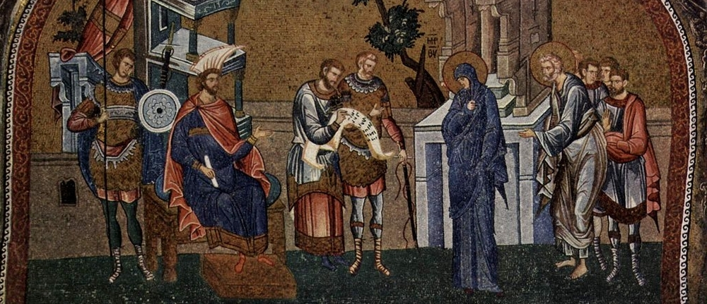 Mary and Joseph register for the census before Governor Quirinius. Byzantine mosaic at the Chora Church in Constantinople 1315–20.