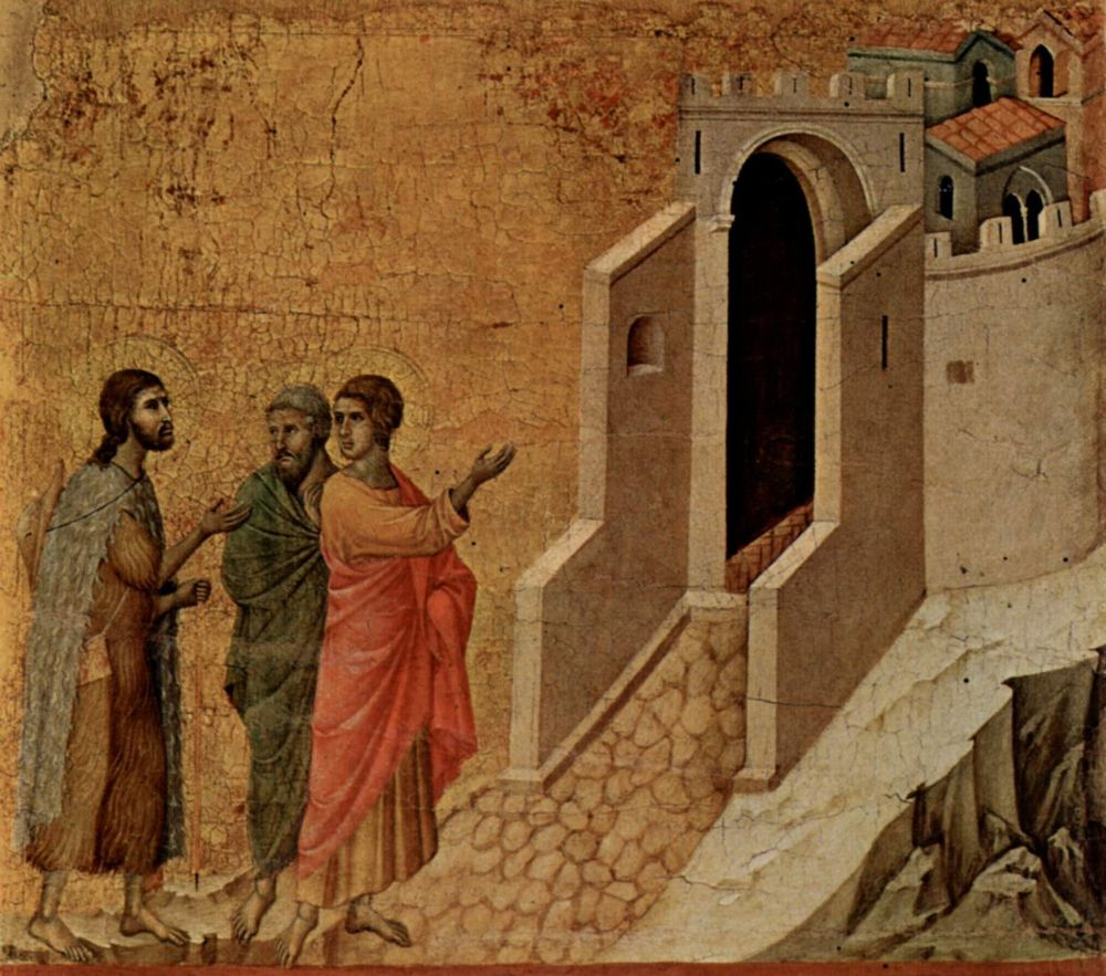 On the Road to Emmaus , by  Duccio , 1308-1311,