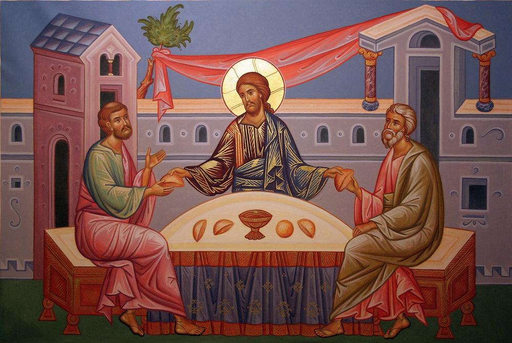 Jesus breaks break with his disciples at Emmaus, Gospel of Luke