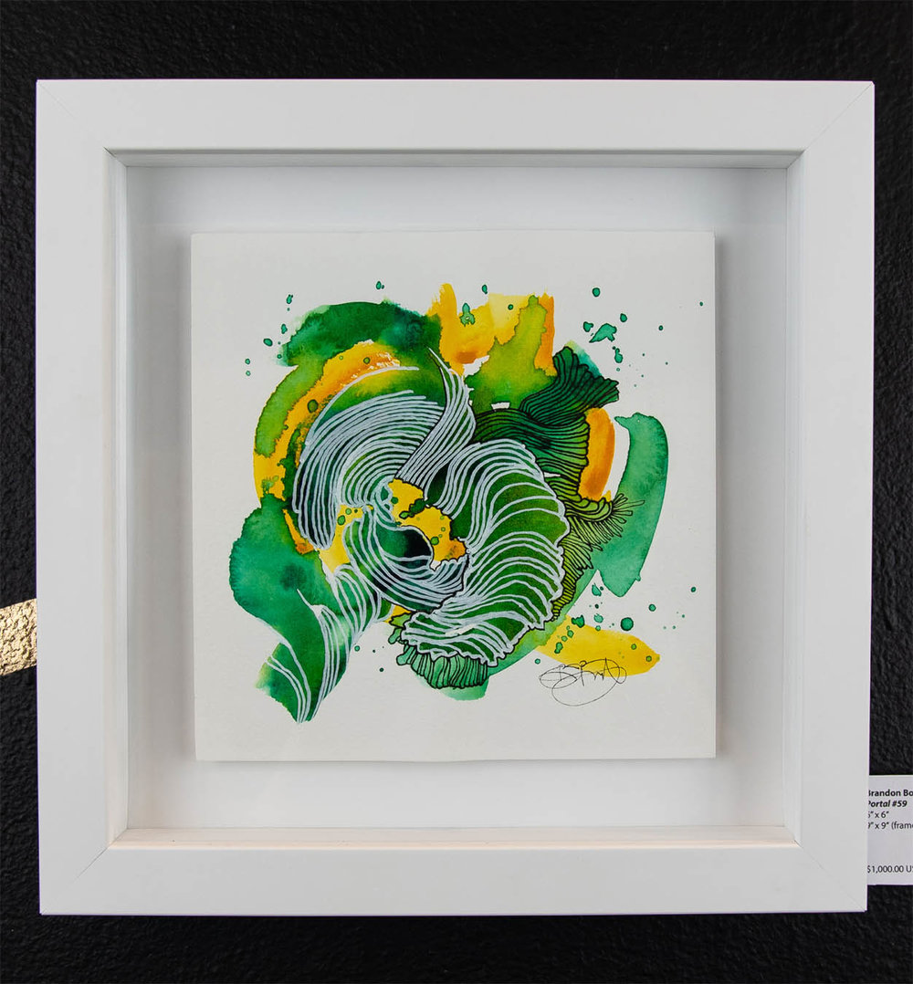"Brandon Boyd    Portal #59,   2018 6"" x 6"" 9"" x 9"" (framed)   $1,000.00 USD  To inquire about purchasing this piece, please e-mail info@ewkuks.com referencing title of piece."