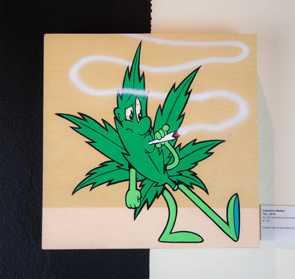 "Sebastien Walker    Weed Leaf (1),   2018 Acrylic and aerosol on wood 8"" x 8""  $250.00 USD  To inquire about purchasing this piece, please e-mail info@ewkuks.com referencing title of piece."