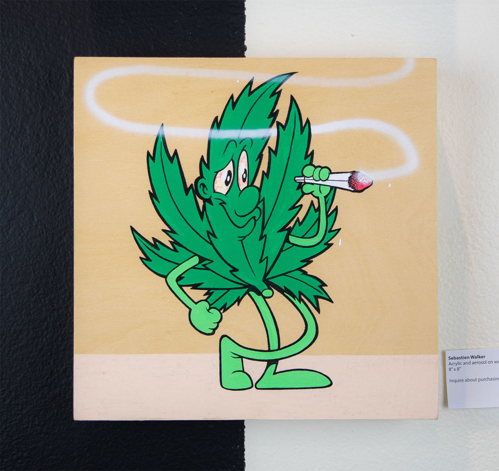 "Sebastien Walker    Weed Leaf (2),   2018 Acrylic and aerosol on wood 8"" x 8""  $250.00 USD  To inquire about purchasing this piece, please e-mail info@ewkuks.com referencing title of piece."