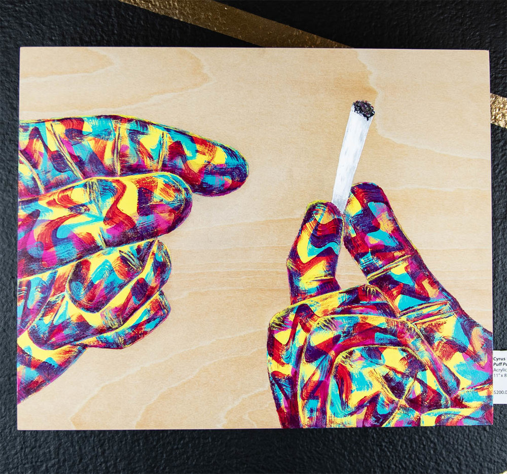 "Cyrus Howlett     Puff Puff Pass,   2018 Acrylic on wood 11"" x 8""  $200.00 USD  To inquire about purchasing this piece, please e-mail info@ewkuks.com referencing title of piece."