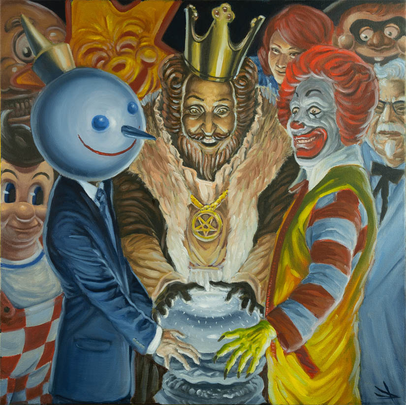 "Mister Toledo  Battle Royale with Cheese, 2018   Oil on canvas 20"" x 20""  To inquire about purchasing this piece, please e-mail info@ewkuks.com referencing title of piece."