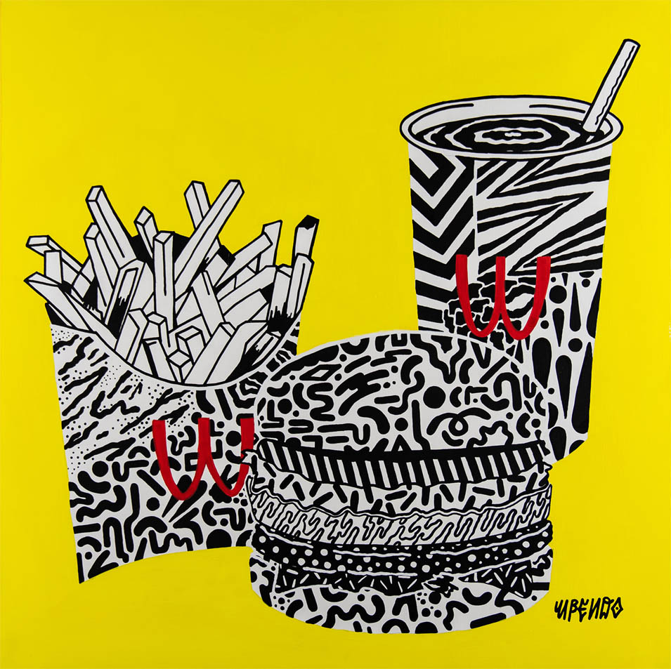 "Upendo  ""Wack Arnolds"" Still Life, 2018   Acrylic on wood panel 20"" x 20""  $500.00 USD  To inquire about purchasing this piece, please e-mail info@ewkuks.com referencing title of piece."