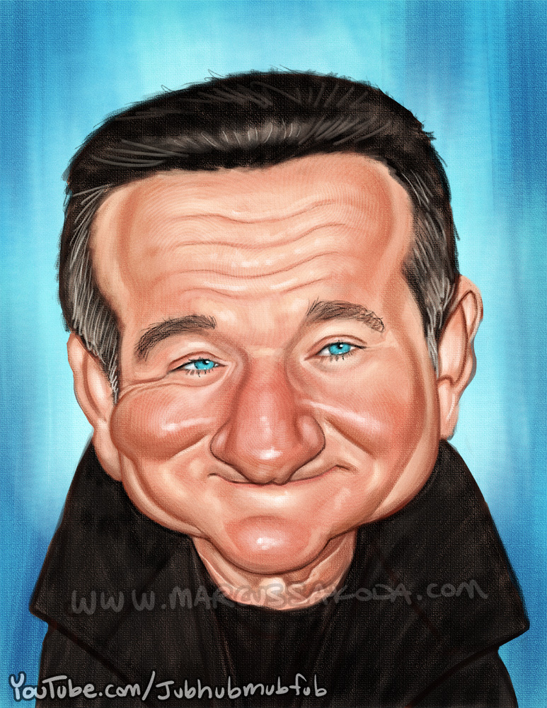 Memorial Caricature of Robin Williams, 2014