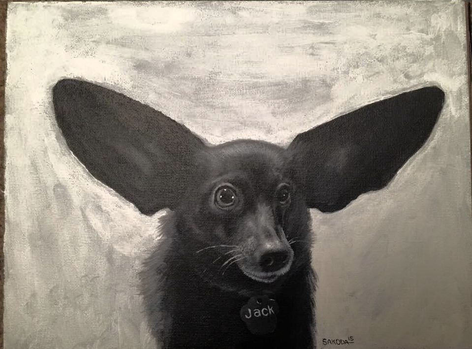 Jack the dog, 9x12 in acrylic on canvas