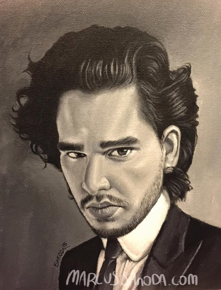 Kit Harrington aka John Snow from Game of Thrones, 8x10in acrylic on canvas