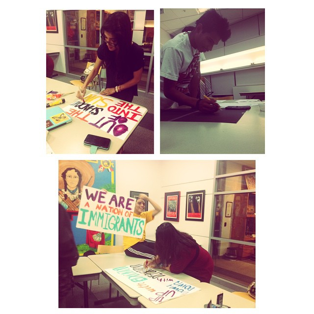 Making banners in preparation for Tuesday's press conference! #sjsu#sahesjsu #pressconference #DACA #DACAforall #DAPA #ImmigrationReform