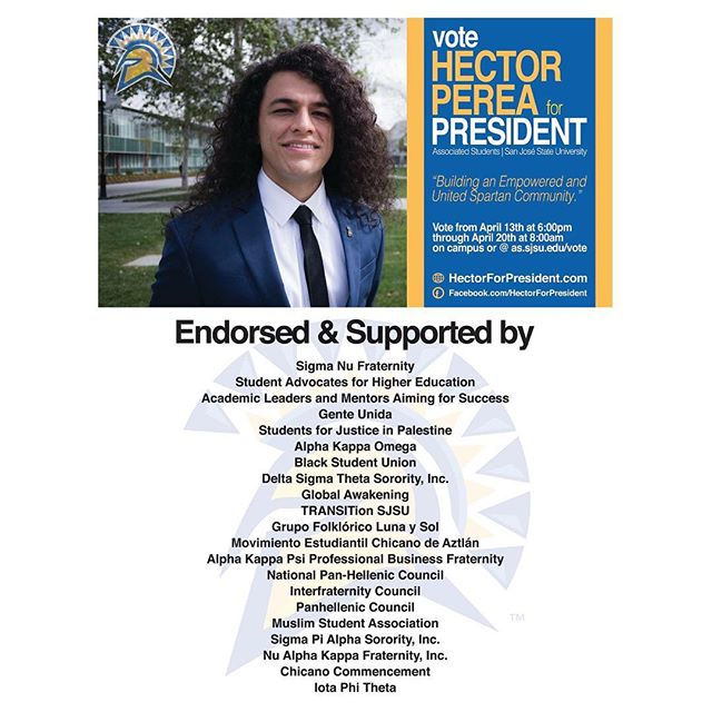 Vote for Héctor Perea Jr. There is a re-run for President. Voting starts from April 22 to 28. #sjsu #sjsuspartans #spartanpride #Hector4ASpresident