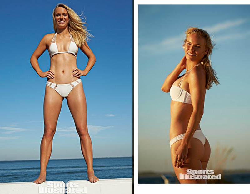 Caroline Wozniacki photographed by Walter Iooss in  ACACIA SWIMWEAR  and  ISSA DE MAR