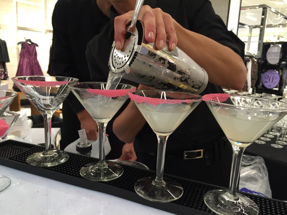 Pink sugar-rimmed martinis at Bloomingdale's opening gala